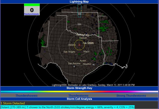 Bentwater on Lake Granbury Lightning Map Information